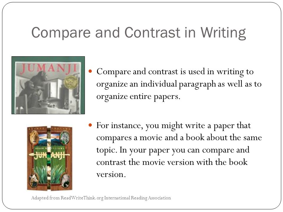 Compare and Contrast in Writing Adapted from ReadWriteThink.org International Reading Association Compare and contrast is used in writing to organize an individual paragraph as well as to organize entire papers.