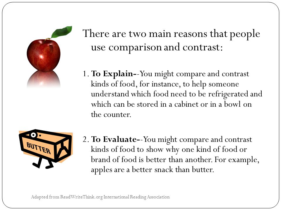 Adapted from ReadWriteThink.org International Reading Association There are two main reasons that people use comparison and contrast: 1.