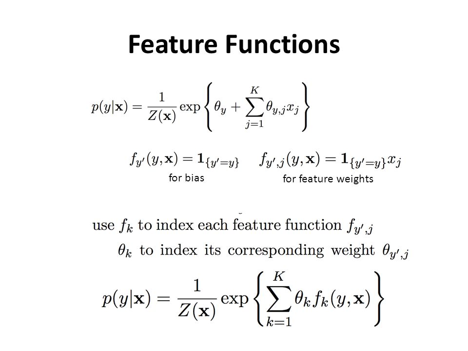 Feature Functions for bias for feature weights