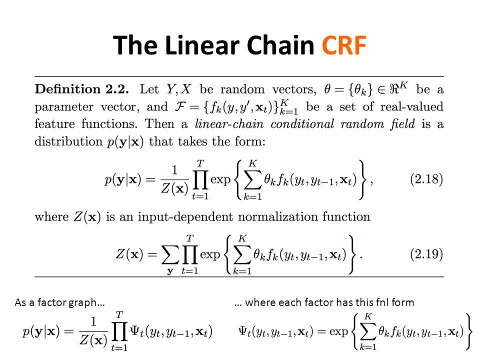 The Linear Chain CRF As a factor graph…… where each factor has this fnl form