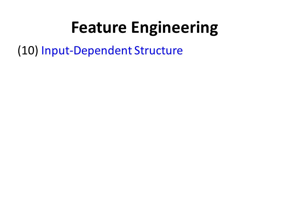 Feature Engineering (10) Input-Dependent Structure