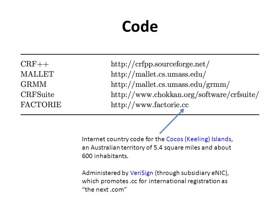 Code Internet country code for the Cocos (Keeling) Islands, an Australian territory of 5.4 square miles and about 600 inhabitants. Administered by Ver