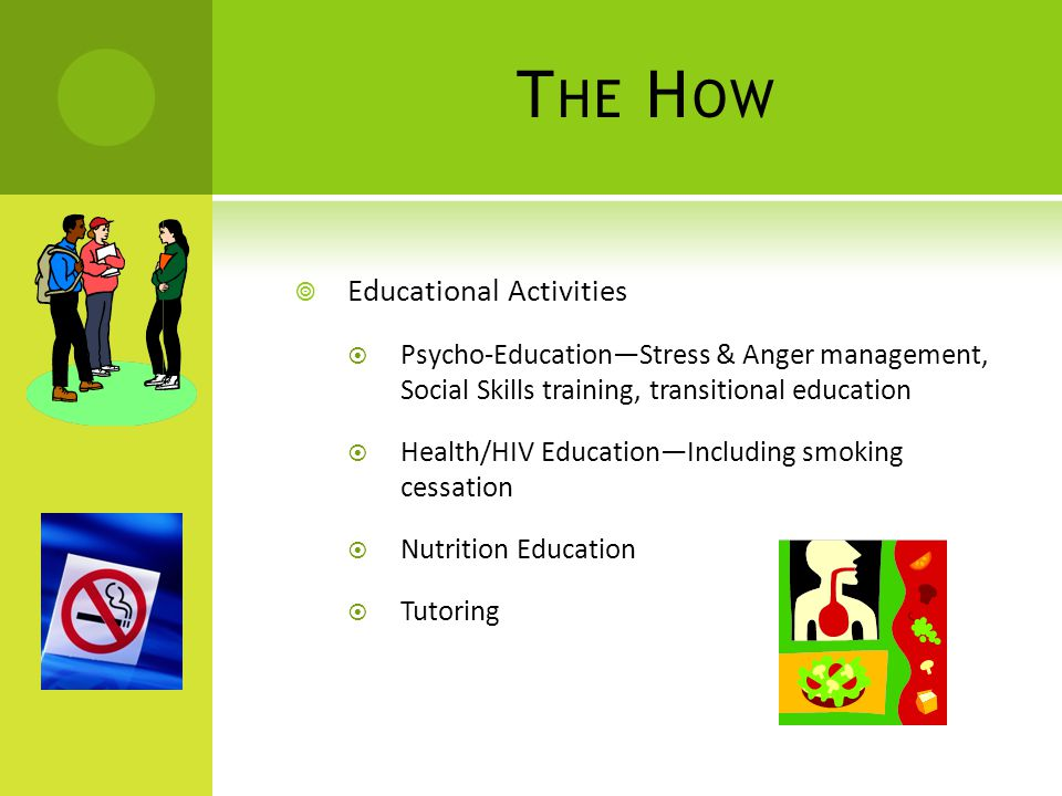 T HE H OW  Educational Activities  Psycho-Education—Stress & Anger management, Social Skills training, transitional education  Health/HIV Education—Including smoking cessation  Nutrition Education  Tutoring