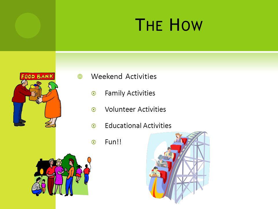 T HE H OW  Weekend Activities  Family Activities  Volunteer Activities  Educational Activities  Fun!!