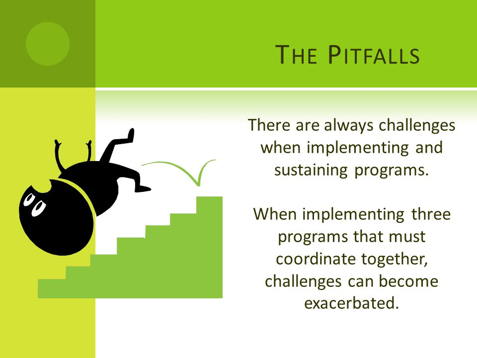 T HE P ITFALLS There are always challenges when implementing and sustaining programs.