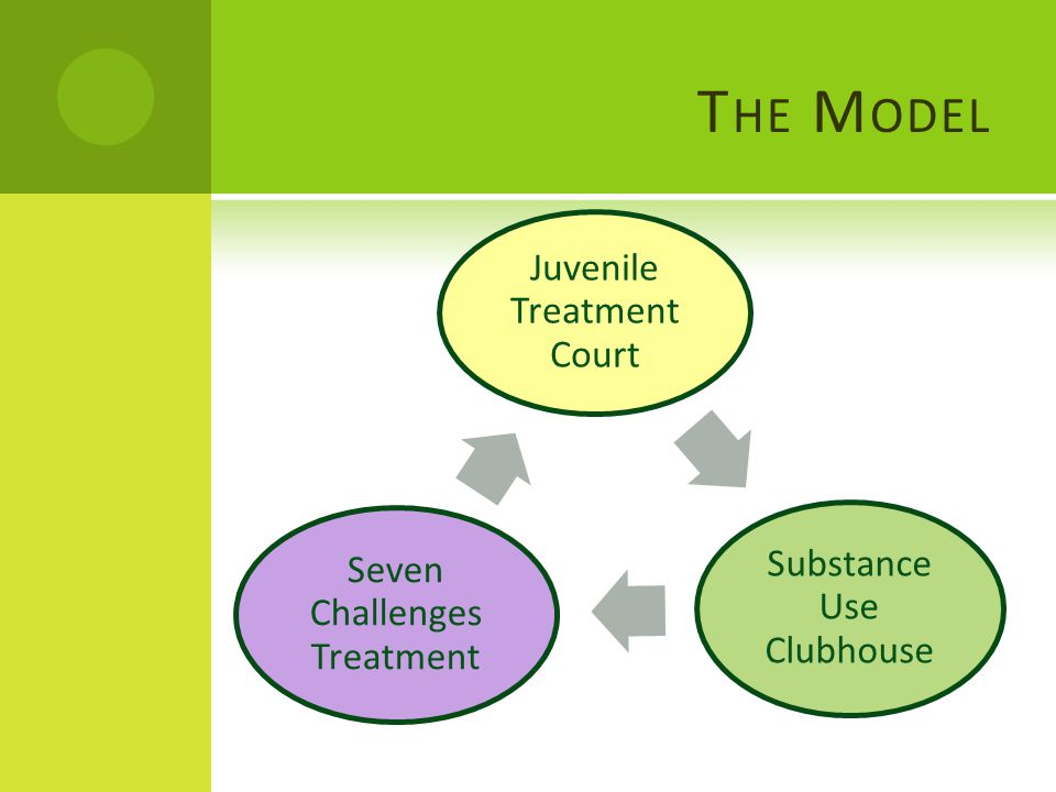 T HE M ODEL Juvenile Treatment Court Substance Use Clubhouse Seven Challenges Treatment