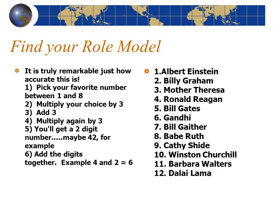 Find your Role Model It is truly remarkable just how accurate this is.