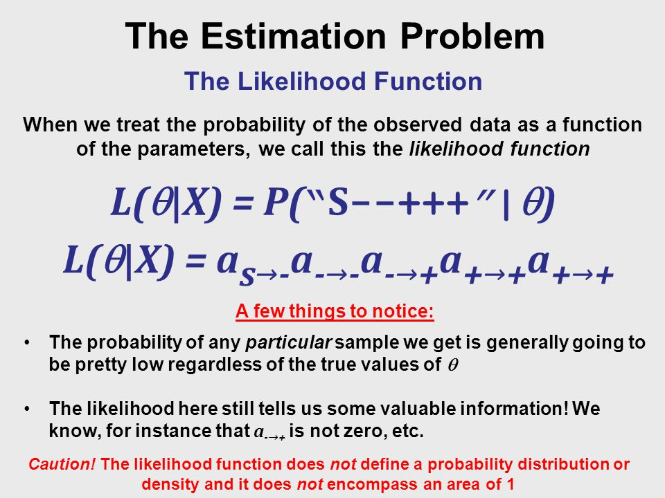 Maximum Likelihood Estimation Maximum Likelihood Estimation seeks the solution that best explains the observed dataset ML = argmax P(X|)  Translation: select as our maximum likelihood parameters those parameters that resulted in a maximization of the probability of the observation given those parameters .