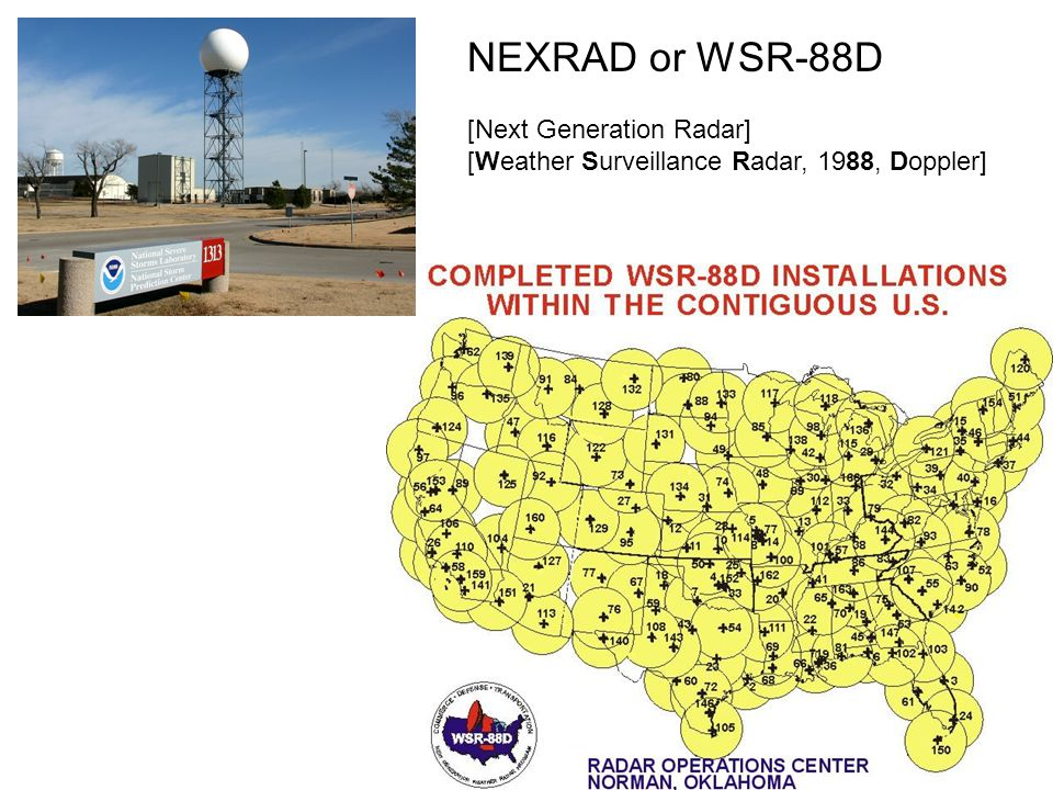 NEXRAD or WSR-88D [Next Generation Radar] [Weather Surveillance Radar, 1988, Doppler]