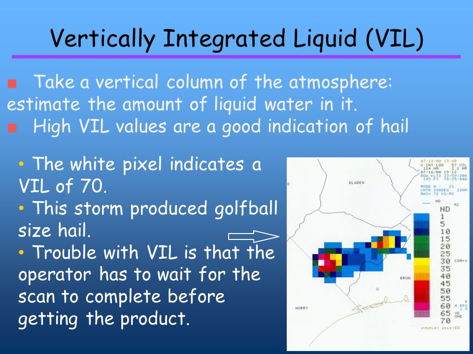 Vertically Integrated Liquid (VIL) ■ Take a vertical column of the atmosphere: estimate the amount of liquid water in it.