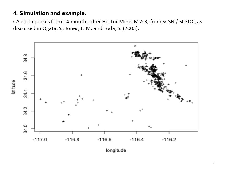 4. Simulation and example. CA earthquakes from 14 months after Hector Mine, M ≥ 3, from SCSN / SCEDC, as discussed in Ogata, Y., Jones, L. M. and Toda