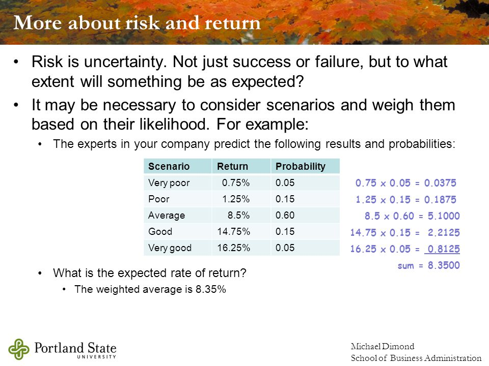 Michael Dimond School of Business Administration More about risk and return Risk is uncertainty.
