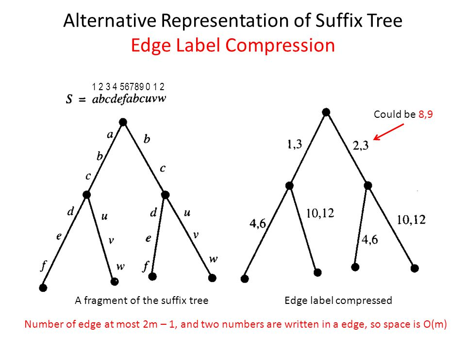 Alternative Representation of Suffix Tree Edge Label Compression 1 2 3 4 56789 0 1 2 A fragment of the suffix treeEdge label compressed Could be 8,9 N