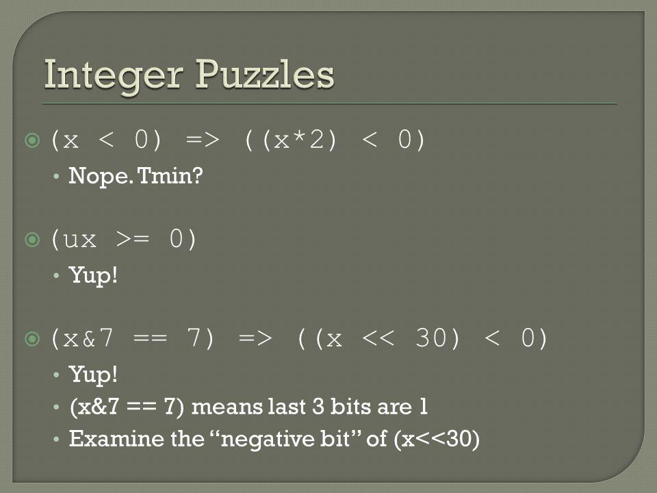  (x ((x*2) < 0) Nope. Tmin.  (ux >= 0) Yup.  (x&7 == 7) => ((x << 30) < 0) Yup.