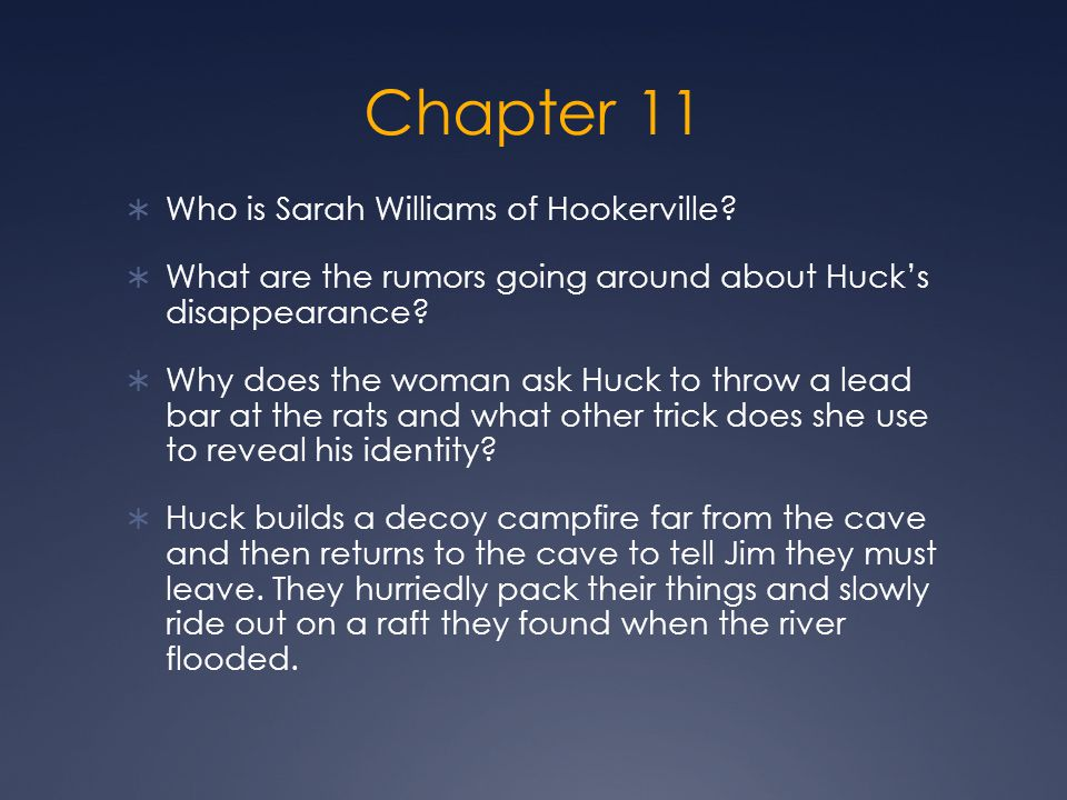 Chapter 11  Who is Sarah Williams of Hookerville.
