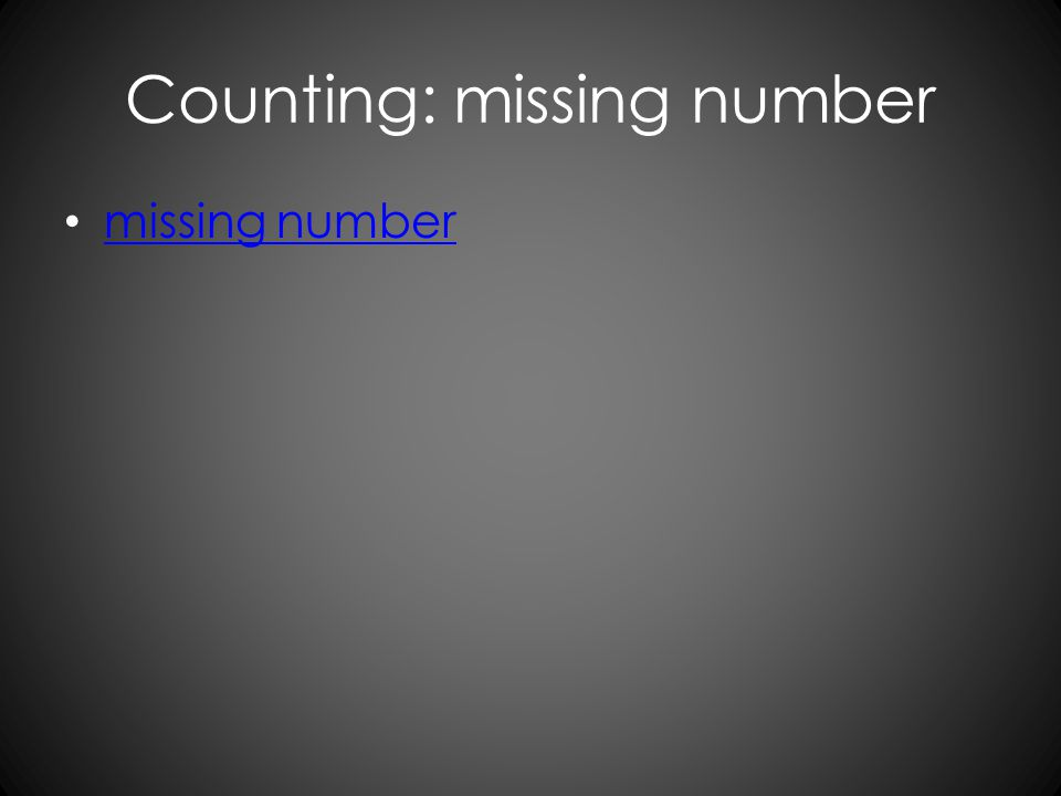 Counting: missing number missing number