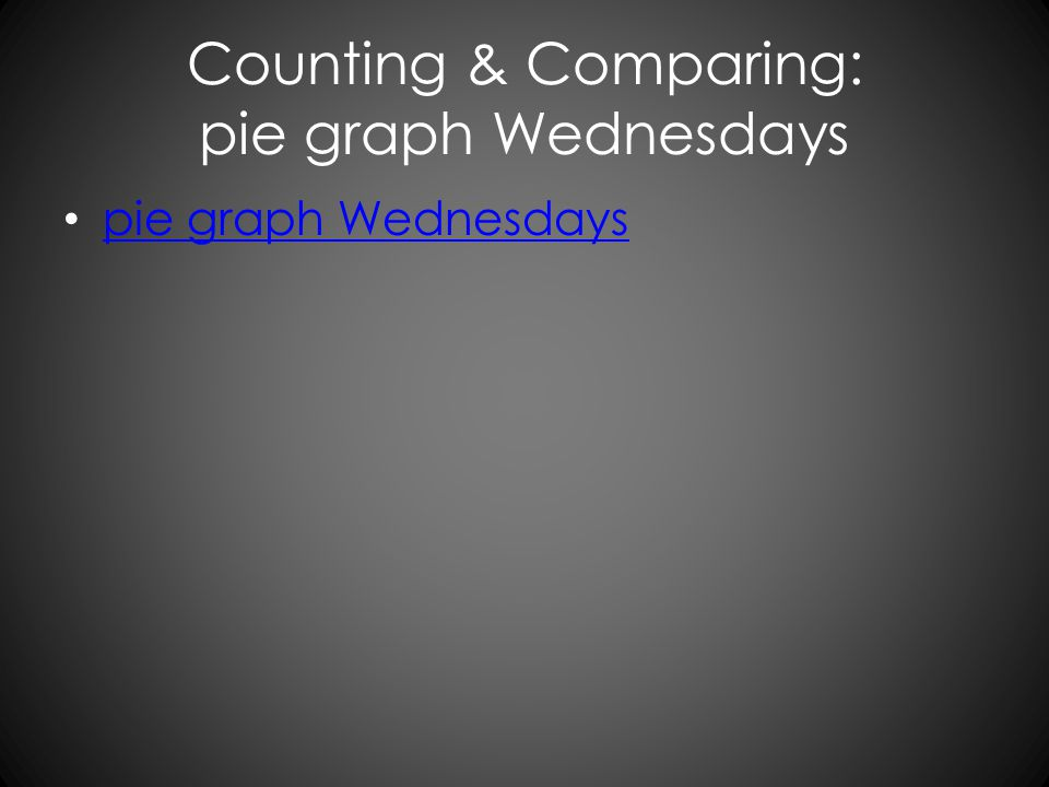 Counting & Comparing: pie graph Wednesdays pie graph Wednesdays