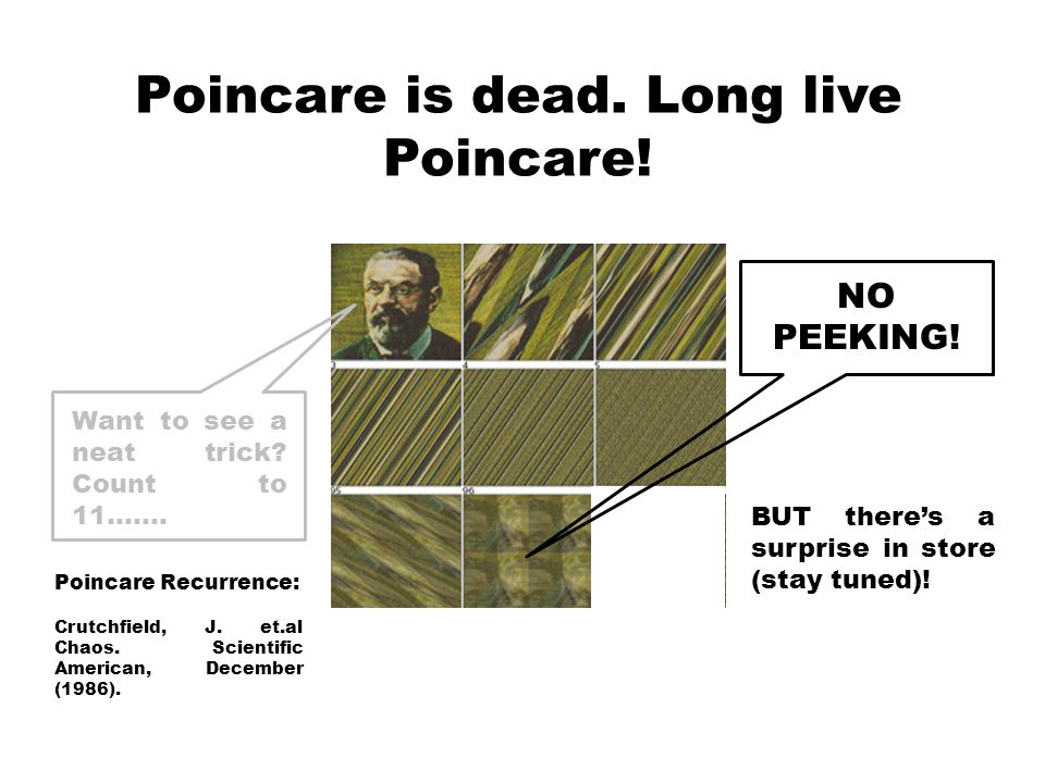 Poincare is dead. Long live Poincare. Poincare Recurrence: Crutchfield, J.