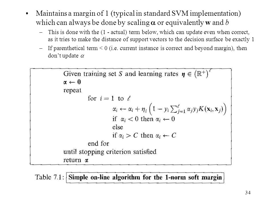 Maintains a margin of 1 (typical in standard SVM implementation) which can always be done by scaling  or equivalently w and b –This is done with the (1 - actual) term below, which can update even when correct, as it tries to make the distance of support vectors to the decision surface be exactly 1 –If parenthetical term < 0 (i.e.