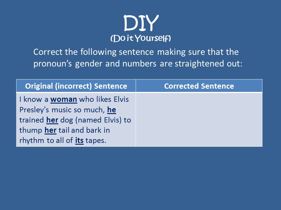 DIY (Do it Yourself) Correct the following sentence making sure that the pronoun's gender and numbers are straightened out: Original (incorrect) SentenceCorrected Sentence I know a woman who likes Elvis Presley s music so much, he trained her dog (named Elvis) to thump her tail and bark in rhythm to all of its tapes.