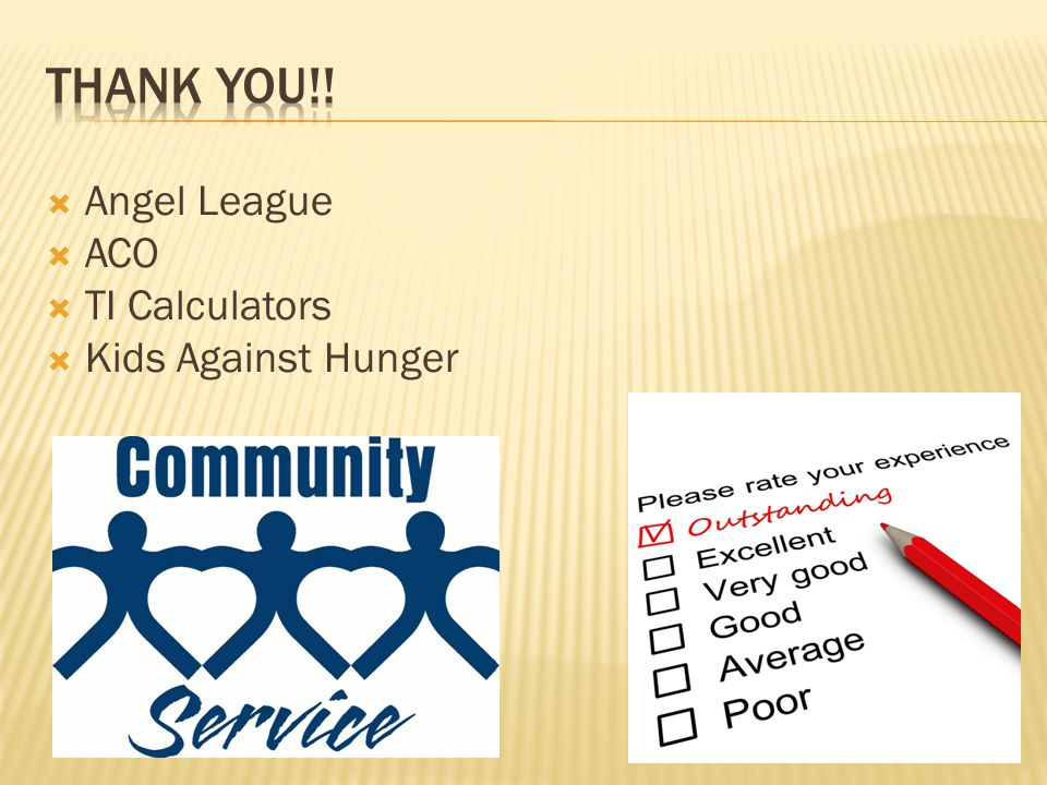  Angel League  ACO  TI Calculators  Kids Against Hunger