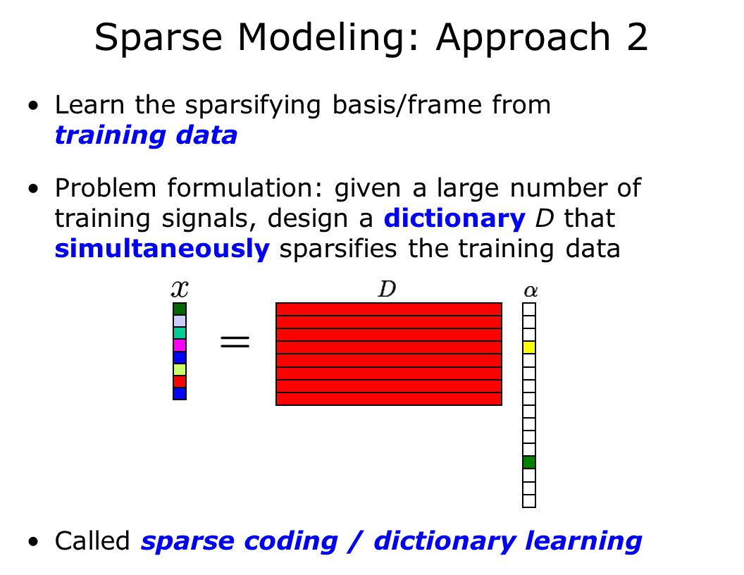 Sparse Modeling: Approach 2 Learn the sparsifying basis/frame from training data Problem formulation: given a large number of training signals, design