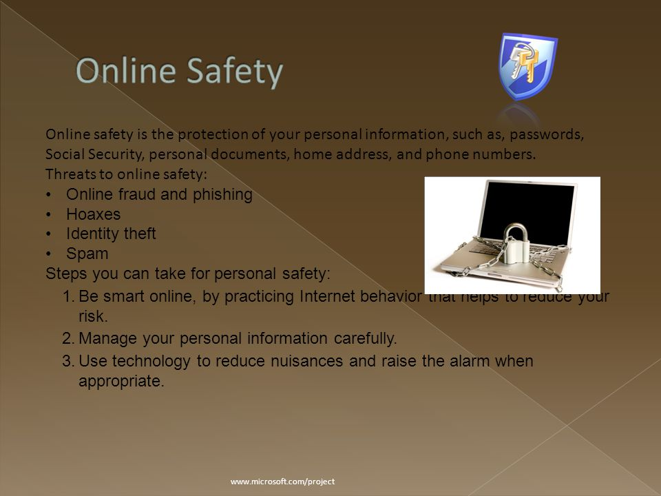 www.microsoft.com/project Online safety is the protection of your personal information, such as, passwords, Social Security, personal documents, home