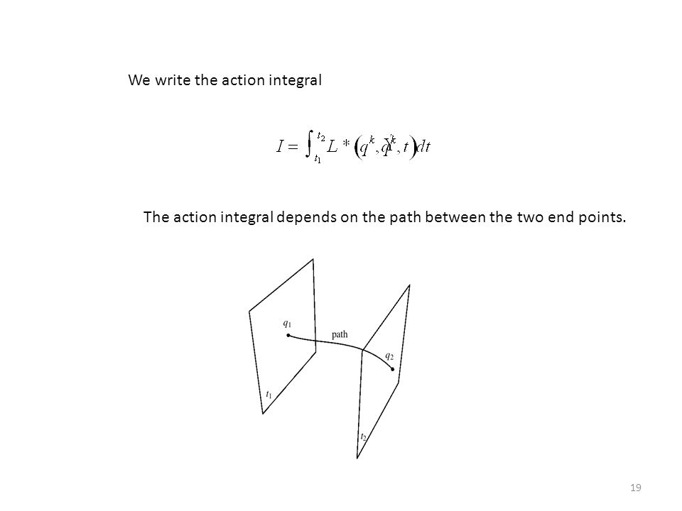 19 We write the action integral The action integral depends on the path between the two end points.