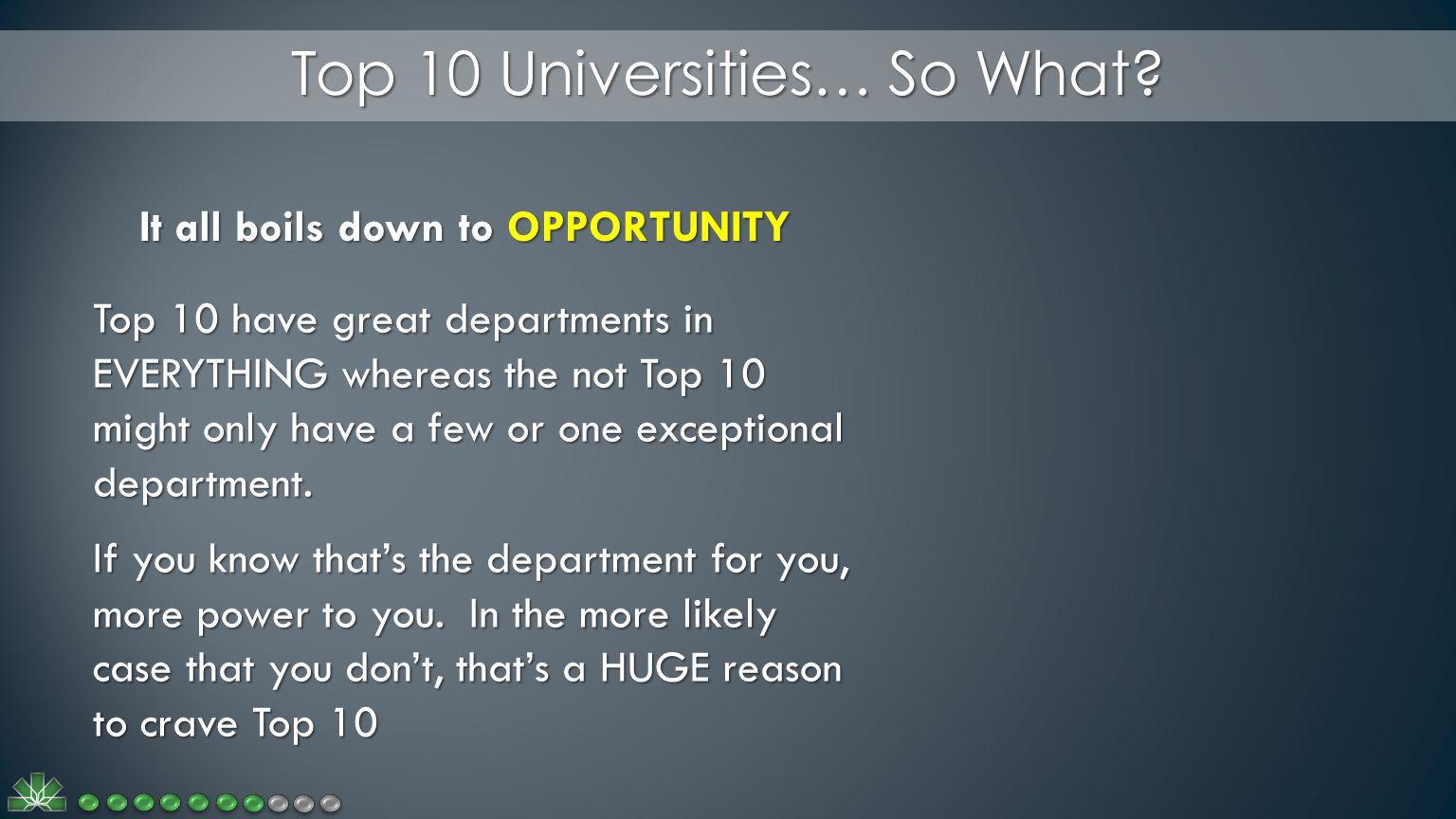 Top 10 Universities… So What.