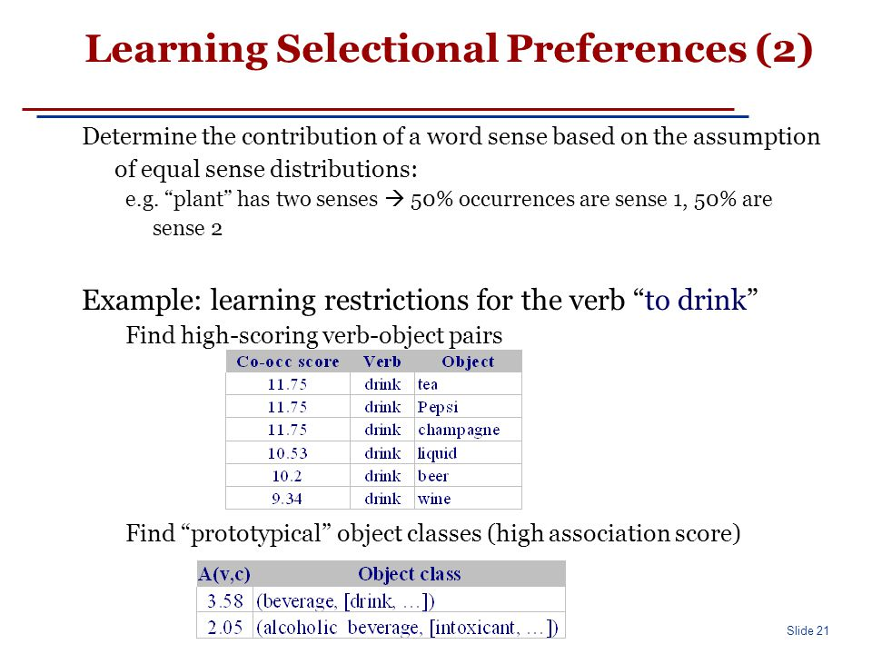 Slide 21 Learning Selectional Preferences (2) Determine the contribution of a word sense based on the assumption of equal sense distributions: e.g.
