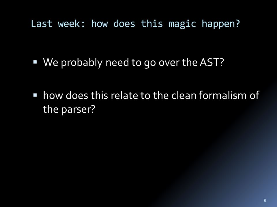 Last week: how does this magic happen.  We probably need to go over the AST.