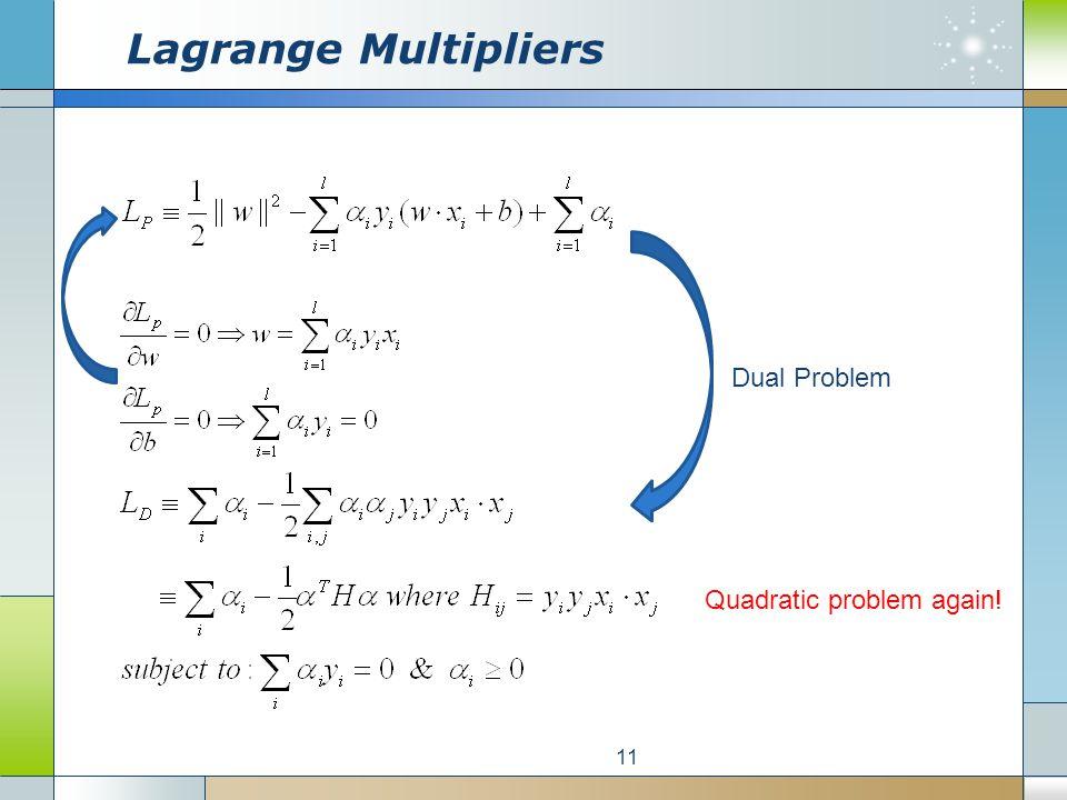 Lagrange Multipliers 11 Dual Problem Quadratic problem again!