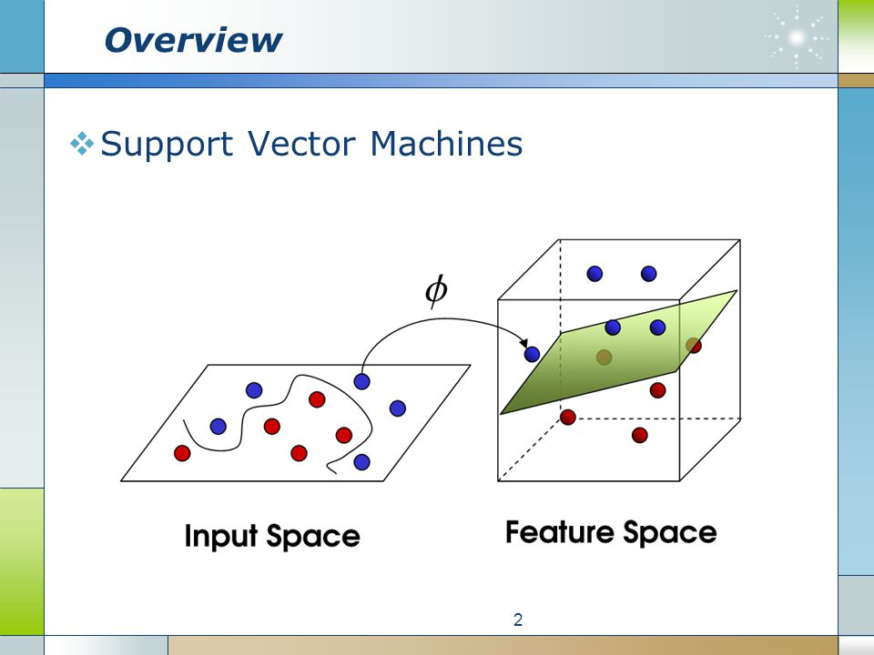 Overview  Support Vector Machines 2