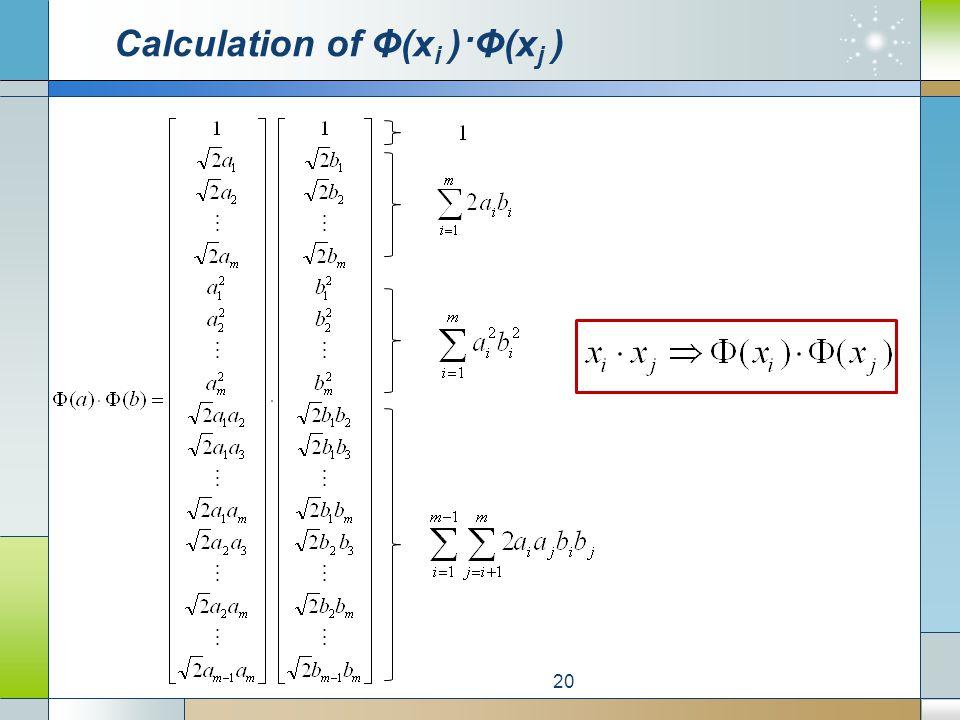 Calculation of Φ(x i )·Φ(x j ) 20