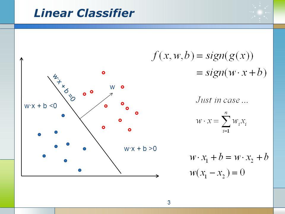 Linear Classifier 3 w · x + b >0 w · x + b <0 w · x + b =0 w