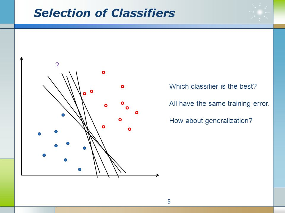 Selection of Classifiers 5 Which classifier is the best.