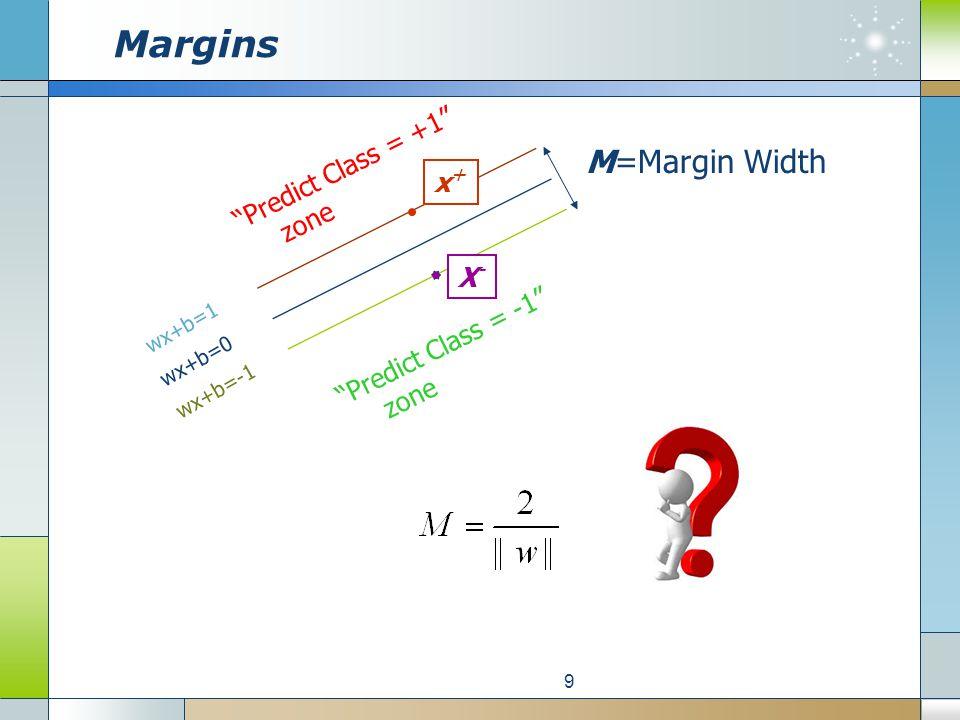 Margins 9 Predict Class = +1 zone Predict Class = -1 zone wx+b=1 wx+b=0 wx+b=-1 X-X- x+x+ M=Margin Width