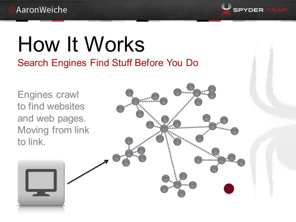 How It Works Search Engines Find Stuff Before You Do Engines crawl to find websites and web pages.