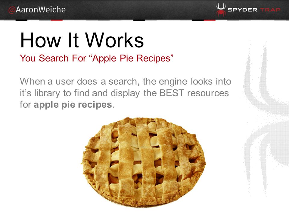 How It Works You Search For Apple Pie Recipes When a user does a search, the engine looks into it's library to find and display the BEST resources for apple pie recipes.