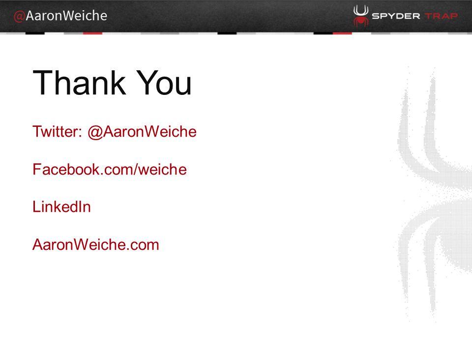Thank You Twitter: @AaronWeiche Facebook.com/weiche LinkedIn AaronWeiche.com