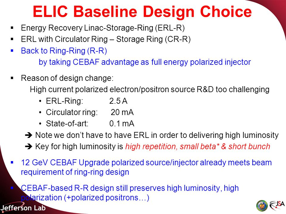 Energy Recovery Linac-Storage-Ring (ERL-R)  ERL with Circulator Ring – Storage Ring (CR-R)  Back to Ring-Ring (R-R) by taking CEBAF advantage as full energy polarized injector  Reason of design change: High current polarized electron/positron source R&D too challenging ERL-Ring: 2.5 A Circulator ring: 20 mA State-of-art: 0.1 mA  Note we don't have to have ERL in order to delivering high luminosity  Key for high luminosity is high repetition, small beta* & short bunch  12 GeV CEBAF Upgrade polarized source/injector already meets beam requirement of ring-ring design  CEBAF-based R-R design still preserves high luminosity, high polarization (+polarized positrons…) ELIC Baseline Design Choice