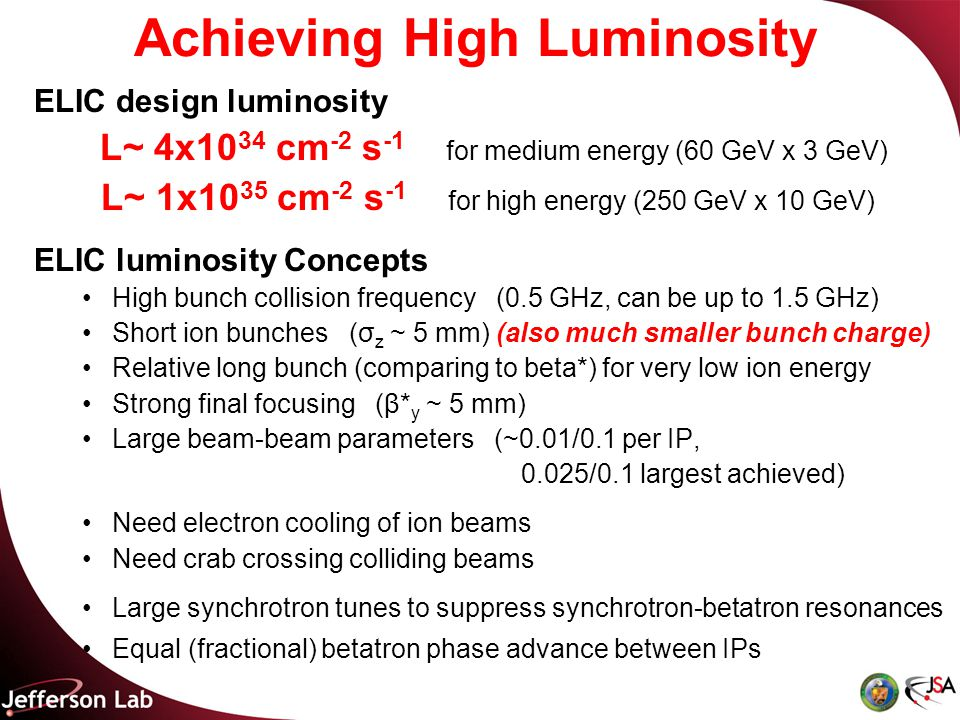 Achieving High Luminosity ELIC design luminosity L~ 4x10 34 cm -2 s -1 for medium energy (60 GeV x 3 GeV) L~ 1x10 35 cm -2 s -1 for high energy (250 GeV x 10 GeV) ELIC luminosity Concepts High bunch collision frequency (0.5 GHz, can be up to 1.5 GHz) Short ion bunches (σ z ~ 5 mm) (also much smaller bunch charge) Relative long bunch (comparing to beta*) for very low ion energy Strong final focusing (β* y ~ 5 mm) Large beam-beam parameters (~0.01/0.1 per IP, 0.025/0.1 largest achieved) Need electron cooling of ion beams Need crab crossing colliding beams Large synchrotron tunes to suppress synchrotron-betatron resonances Equal (fractional) betatron phase advance between IPs