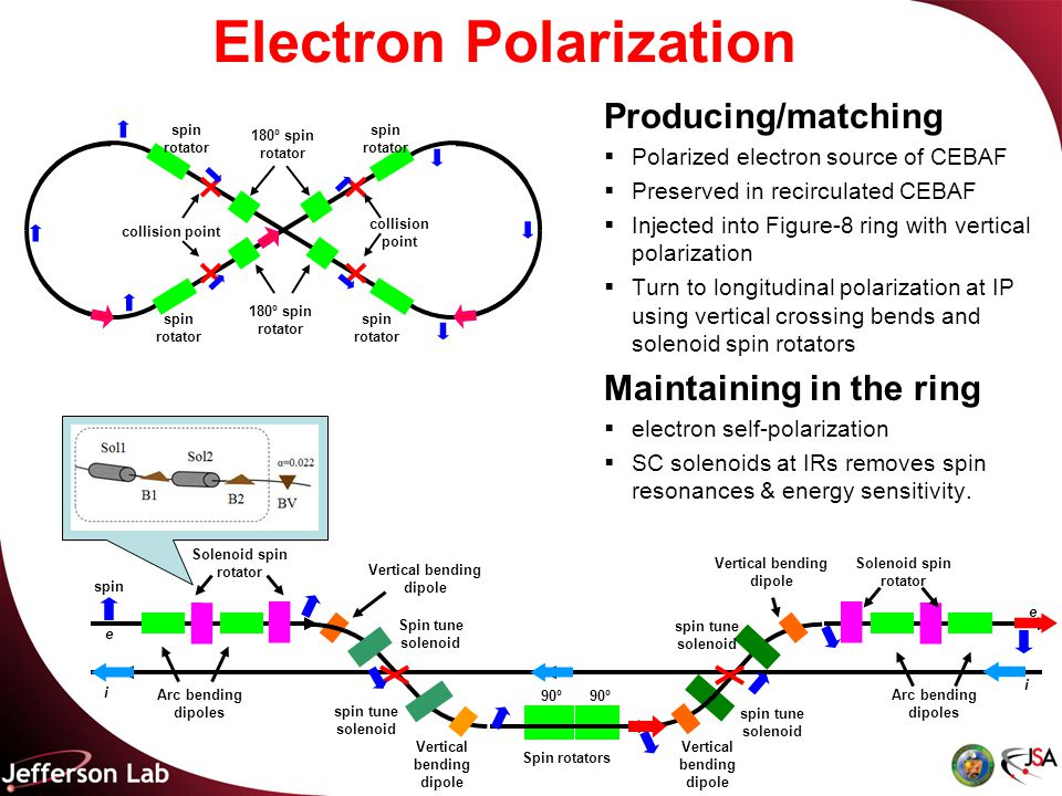 Electron Polarization Producing/matching  Polarized electron source of CEBAF  Preserved in recirculated CEBAF  Injected into Figure-8 ring with vertical polarization  Turn to longitudinal polarization at IP using vertical crossing bends and solenoid spin rotators Maintaining in the ring  electron self-polarization  SC solenoids at IRs removes spin resonances & energy sensitivity.