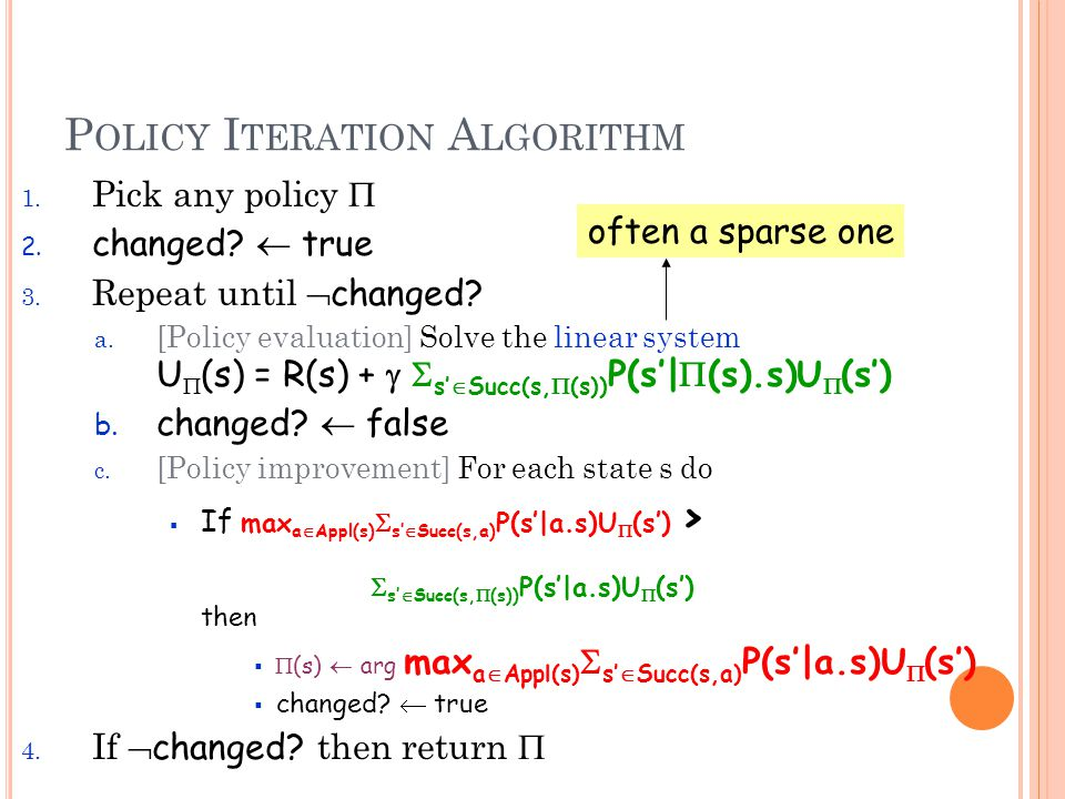 P OLICY I TERATION A LGORITHM 1. Pick any policy  2.