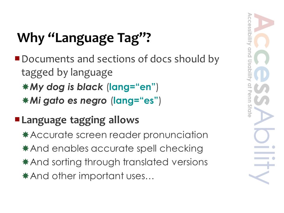 First…Language Codes  ISO-639  ISO = International Standards Org  639 = 2-letter language tags  Examples  en (English), fr (French), ja (Japanese