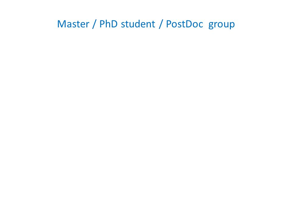 Master / PhD student / PostDoc group