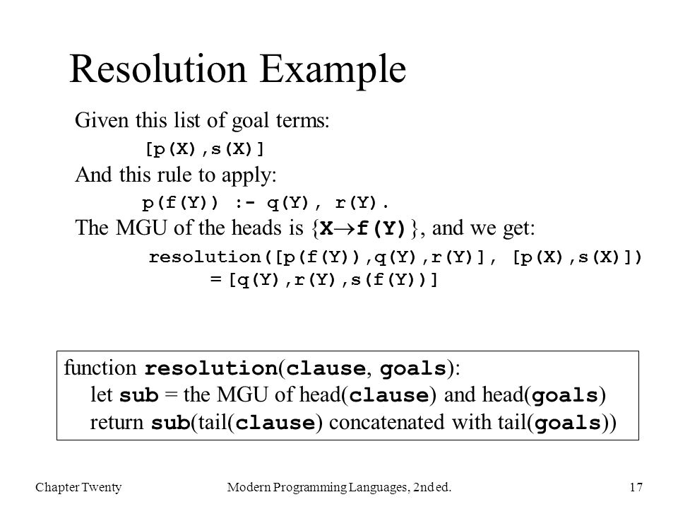 Resolution Example Chapter TwentyModern Programming Languages, 2nd ed.17 function resolution ( clause, goals ): let sub = the MGU of head( clause ) and head( goals ) return sub (tail( clause ) concatenated with tail( goals )) Given this list of goal terms: [p(X),s(X)] And this rule to apply: p(f(Y)) :- q(Y), r(Y).