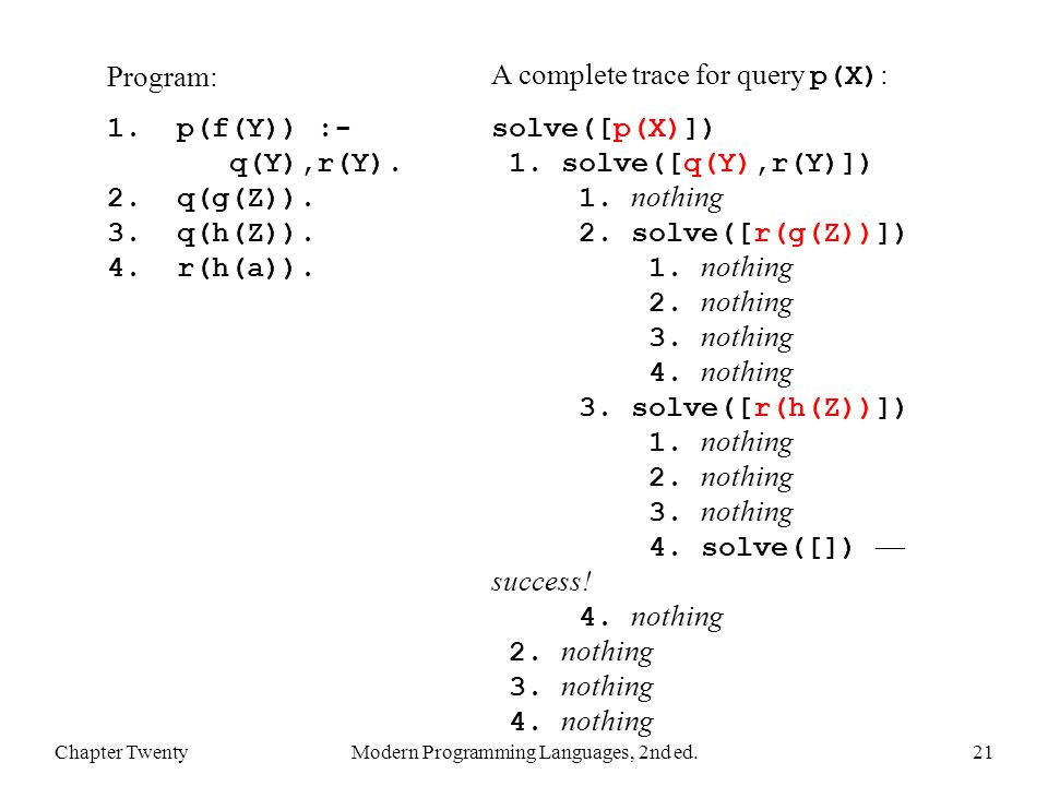 Chapter TwentyModern Programming Languages, 2nd ed.21 Program: 1.