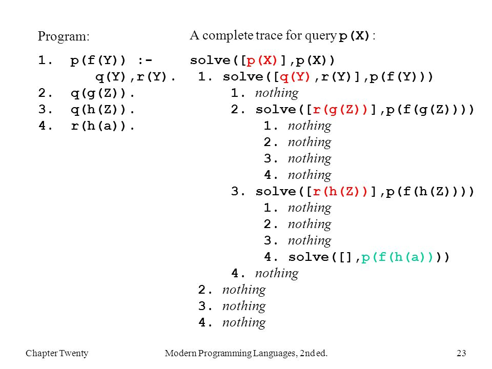 Chapter TwentyModern Programming Languages, 2nd ed.23 Program: 1.