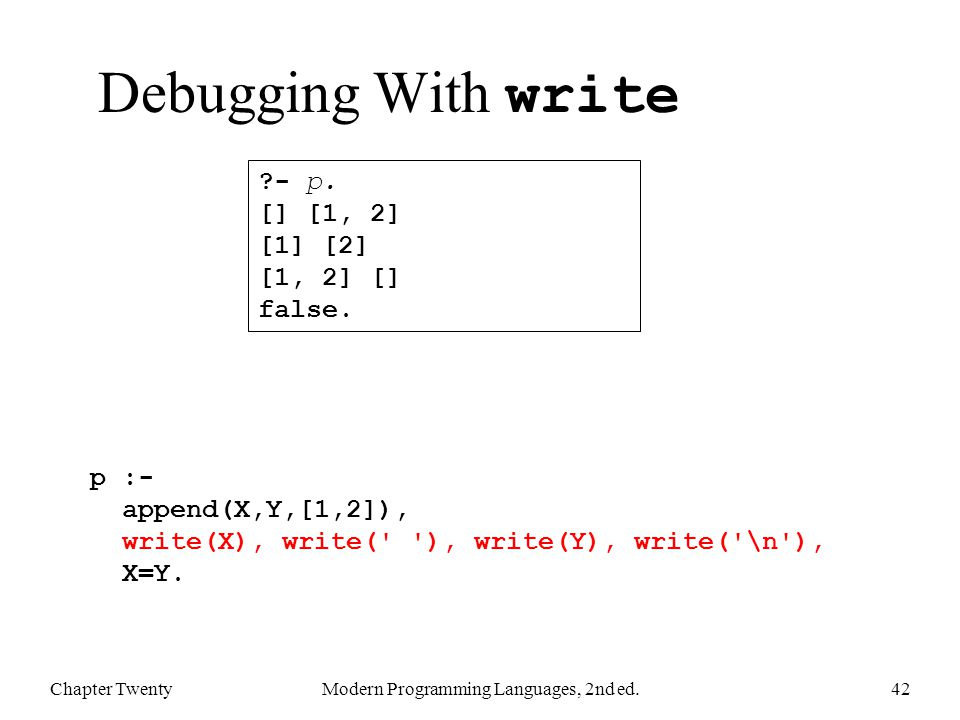 Debugging With write Chapter TwentyModern Programming Languages, 2nd ed.42 p :- append(X,Y,[1,2]), write(X), write( ), write(Y), write( \n ), X=Y.